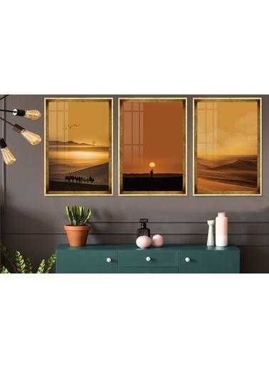 Çerçeve Home  Desert Landscape Gold Çerçeve Tablo Seti Altın